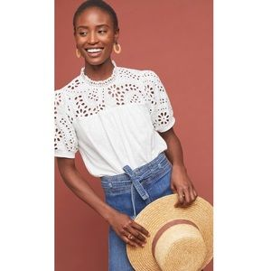 Anthropologie Eri + Ali Precieuse Blouse in White